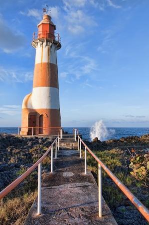 Waves at Port Antonio lighthouse, Jamaica