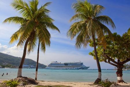 Beautiful beach with palm trees Stock Photo