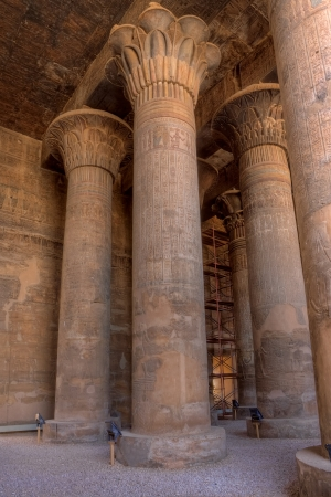 columns: Magnificent tall columns in Khnum temple,Esna, Egypt Stock Photo