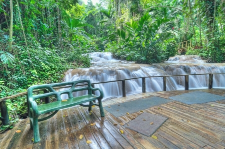 Jamaican waterfall park (Enchanted gardens) in Ocho Rio