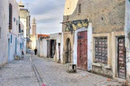 kairouan: Typical street of Kairouan, Tunisia