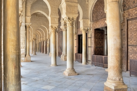 Portico of the Great Mosque in Kairouan, Tunisia Stock Photo
