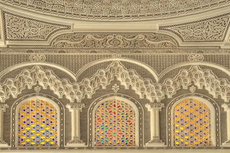 kairouan: Beautiful decor of the Mosque of the Barber in Kairouan, Tunisia
