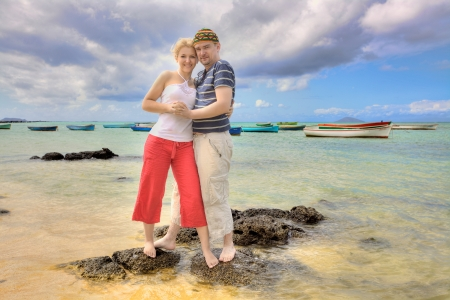 romatic: Happy romatic couple on a beach Stock Photo