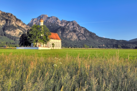 schwangau: Landscape with St. Colemans Church in Germany