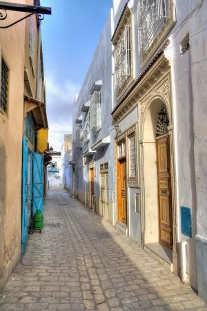 kairouan: Empty street in Kairouan, Tunisia Stock Photo