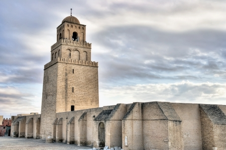 kairouan: Minaret of the Great Mosque in Kairouan, Tunisia