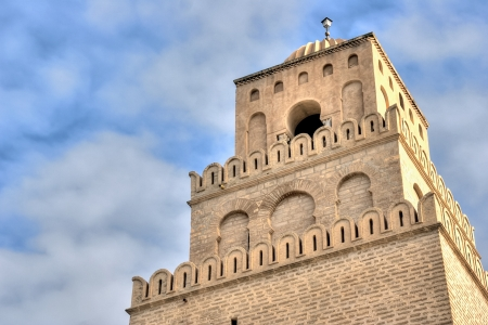 Minaret of the Great Mosque in Kairouan, Tunisia photo