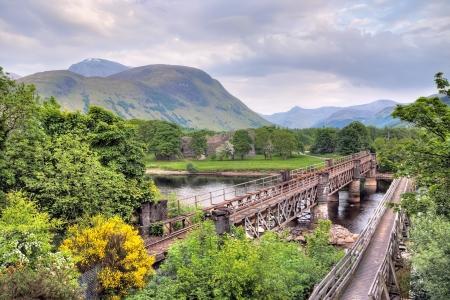 Scottish landscape with two bridges Stock Photo