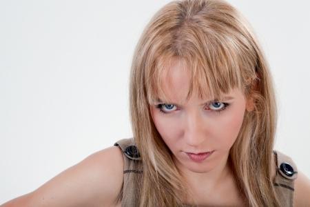 rebellious: Portrait of annoyed beautiful woman
