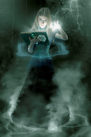 Young sorceress casting spells
