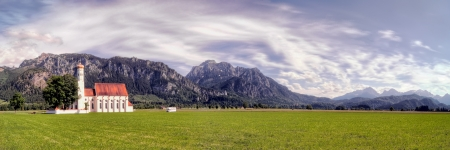 allgau: Panorama of St. Colemans Church, Allgau, Bavaria in Germany Stock Photo