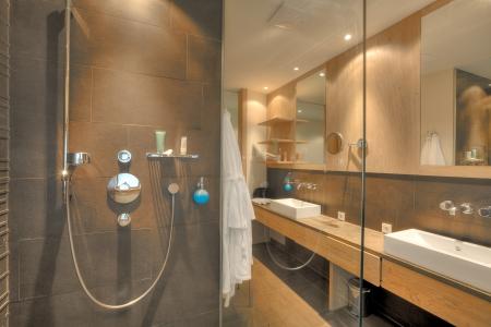 modern bathroom: shower in a beautiful bathroom in Kaufmann hotel, Bavaria