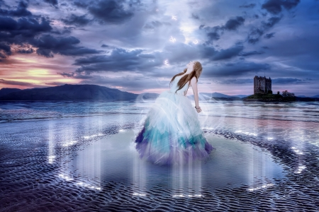 fairytale castle: Beautiful sorceress in a magical spell Stock Photo