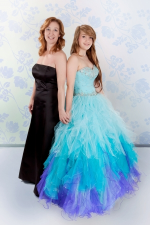 prom: Mother and daughter in beautiful dresses