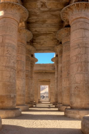 Colonnade of the Ramesseum, temple of Ramses in Luxor, Egypt