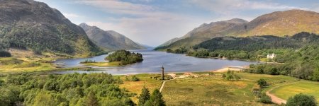 Aerial view on Glenfinnan Monument and Loch Shiel,Scotland Stock Photo
