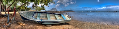 mauritius: Panoramic view of Mauritius with a boat