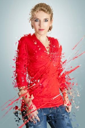 disintegrate: Woman in red- disintegrating portrait Stock Photo