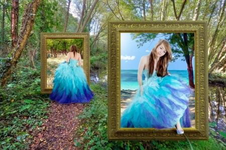 alice au pays des merveilles: Belle fille voyageant � travers le portail magique - conte fantastique Banque d'images