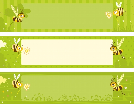 Spring banners with bees Vector