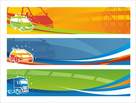 Set of contemporary transport banners Illustration