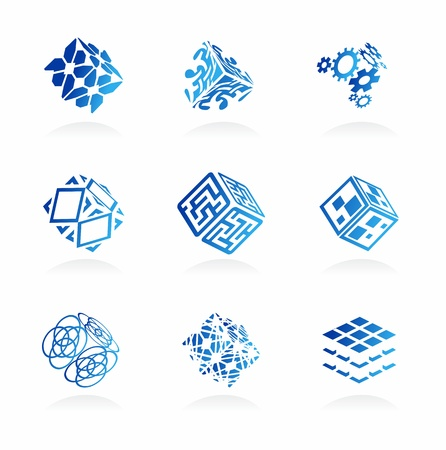 Vector network cube icons set