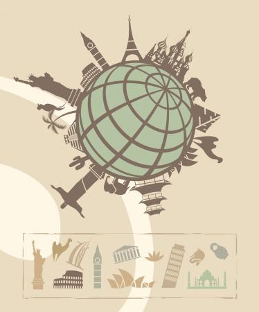 Puntos de inter�s en todo el mundo Vectores