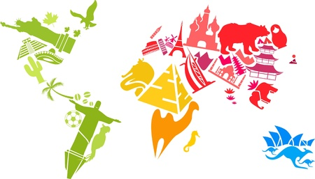 World map made of landmarks