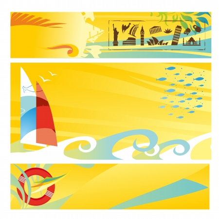 Set of hot travel banners Illustration