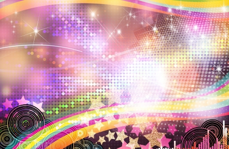 Retro disco background full of colours and stars