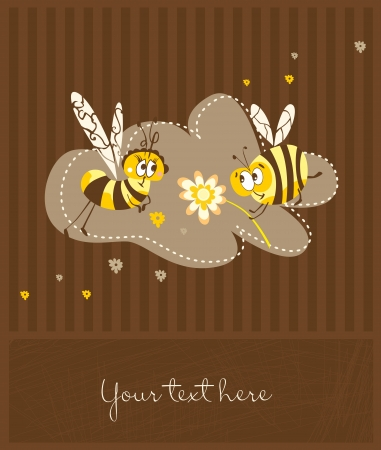 Cute postcard in retro style with funny bees