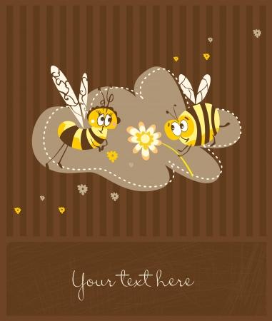 Postal linda en estilo retro con las abejas divertidas