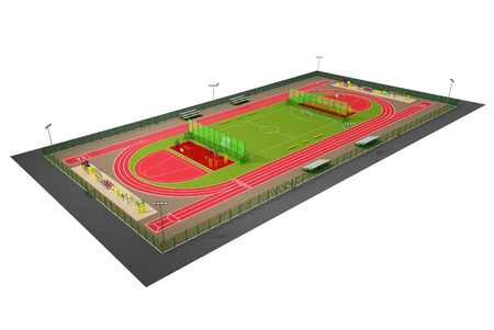 Sport field 3D model isolated on white photo