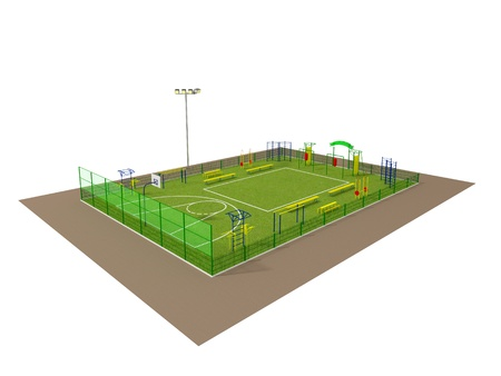 Sport field 3D model isolated on white Stock Photo - 14843382