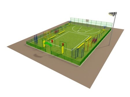 Sport field 3D model isolated on white Stock Photo - 14843391