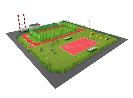 Sport field 3D model isolated on white Stock Photo - 14843381