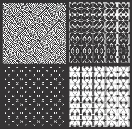 Monochrome geometrical patterns  set