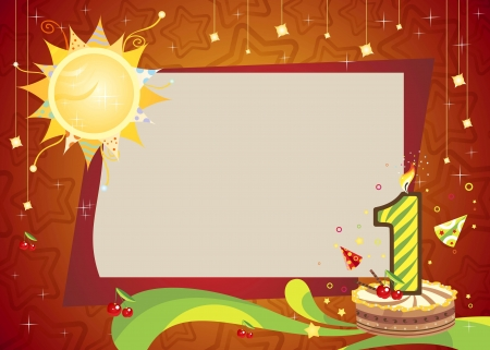 First birthday frame    Bright anniversary card with cake    Illustration