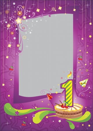 First birthday frame    Bright anniversary card with cake    Vector