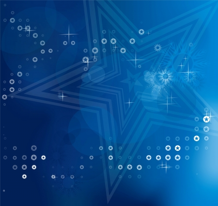 Blue blurry abstract Christmas background with white stars