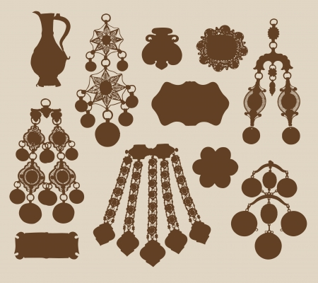 Old jewelery and treasures silhouettes  Illustration