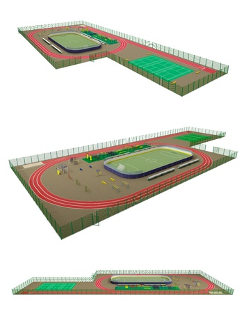 Sport field 3D model isolated on white Stock Photo - 15866612
