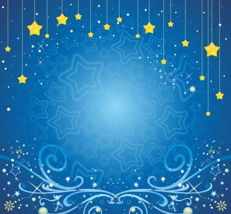 Christmas background with stars and ice patterns Illustration