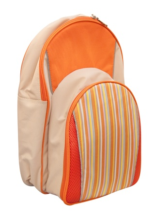 Orange school bag isolated on white  Stock Photo