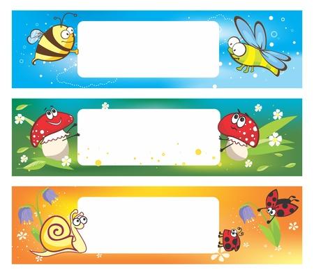 Banderas del resorte con los insectos divertidos