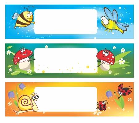 Spring banners with funny insects