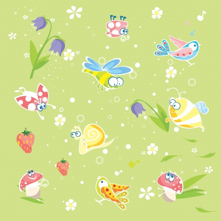 Spring green background with insects and flowers Stock Vector - 17692782