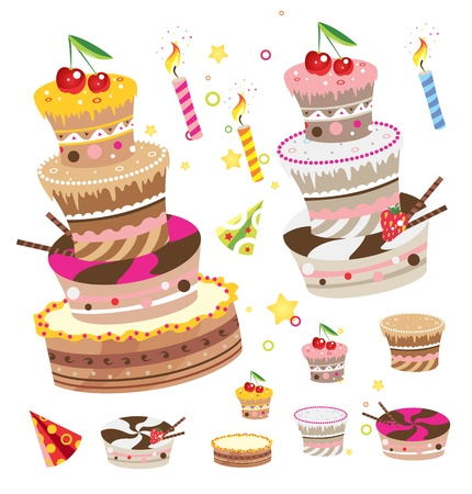 Birthday pies and cakes design elements set