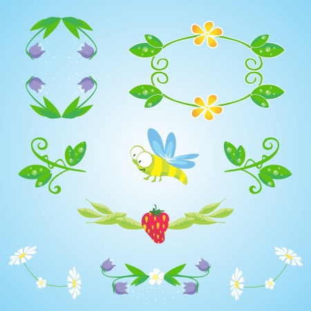 Nature design elements   Set of floral frames and plants for summer designs Contains transparency, EPS10